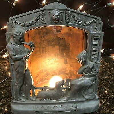 "Vintage Antique Spelter Lamp Family Around Fireplace Restoration 8"" X 10"""