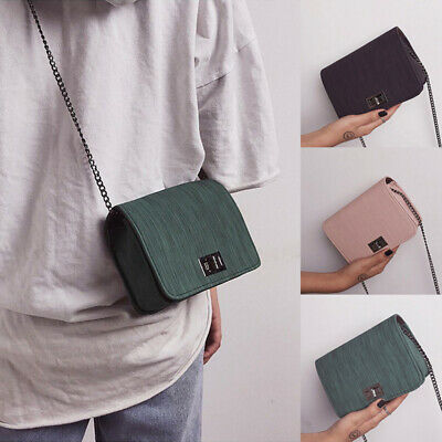 Women PU Buckle Chain Crossbody Shoulder Bag Small Handbags Cloth Pattern
