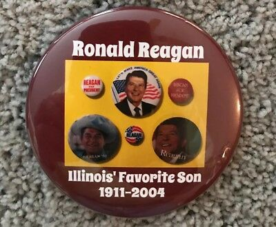 HUGE 4 inch Ronald Reagan Memory button- collage of campaign buttons