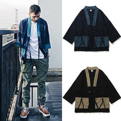 Mens Retro Japanese Linen Kimono Slim Coat Baggy Jacket Shirt Tops