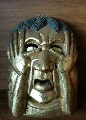 Vintage Wooden wall hanging crying mask( 23×18cm)