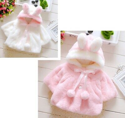 Cute Winter Coat Clothes Kids Baby Girl Fur Coat Cloak Jacket Snowsuit Outerwear