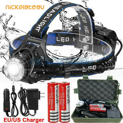 90000LM Zoom T6 LED Headlamp USB Rechargeable Head Light Flashlight Torch Lamp