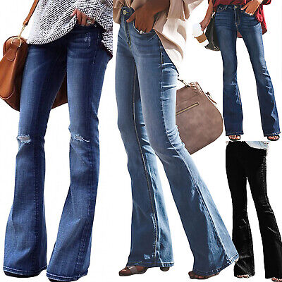 Womens Stretch High Waist Bootcut Jeans Flared Denim Pants Trousers Bell Bottoms