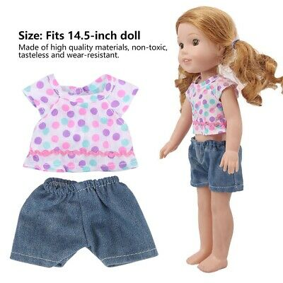 2Pcs Cute Doll Clothes T-shirt and Shorts Suitable for 14.5-inch Dolls Toys