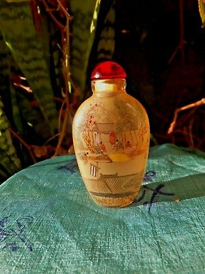 Chinese Legend Glass Snuff Bottle Old Handwork Inside Painting River Scene