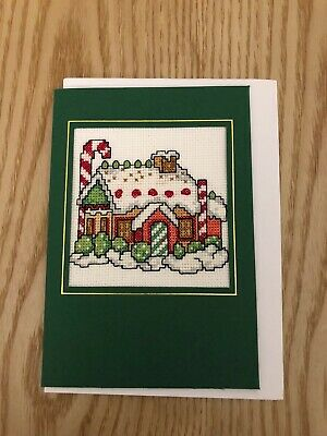Christmas Gingerbread House Card - Completed Cross Stitch