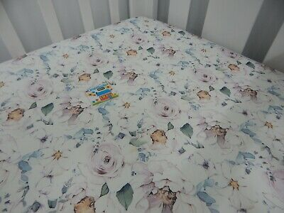 Floral Cot Sheet Fitted Savannah Rose 100% Cotton Fits up to 79 x 130cm Mattress