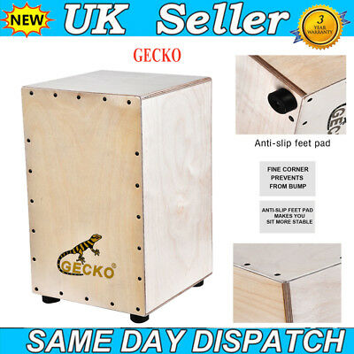 UK Wooden Cajon Hand Drum Durable Box Drum Persussion Instrument + Small Tuner