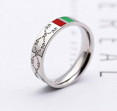 075cf43ea Womens Fashion Classic Ring Titanium Steel Red and Green Silver Ring Gucci