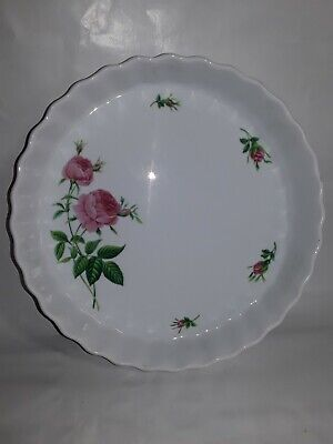 Christineholm Tart Quiche Flan Pie Pan Fluted Baking Dish Pink Roses 9""