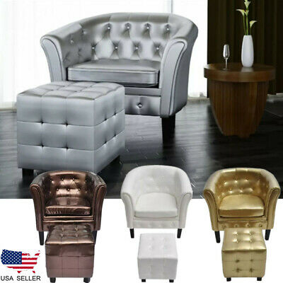 Artificial Leather Barrel Club Chair Sofa Armchair with Footrest 4 Colors Office
