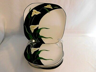 G - Sango Quadrille Black Lilies Salad Plates  Lot of 6  Oven Safe  1984-94