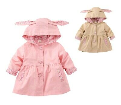 Kids Cute Hooded Coat Baby Girls 1 To 4 Years Cotton Jacket Clothing Outerwear