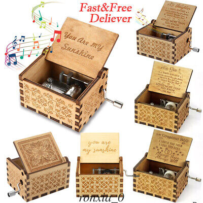 New Wooden Music Box Hand Clockwork Birthday Party Gift 'You Are My Sunshine'