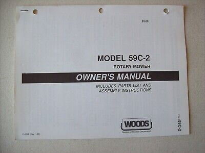 original woods ~ 59c-2 mower fits farmall cub ~ operators manual parts list