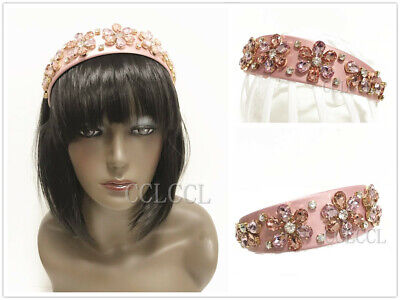 Women Diamante Jewelled Festival Headband Pink Hairband embellished pearl crown