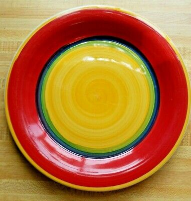 "Royal Norfolk Dinner Plate yellow blue bands Rainbow Pride 10 1/4"" dia."