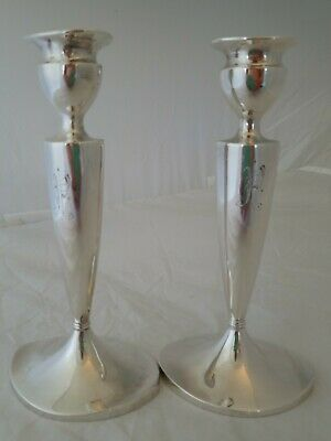 """Stunning Pairpoint Silver Plated Candlesticks  Bedford Quadruple Plate 8.5"""" h.,"""