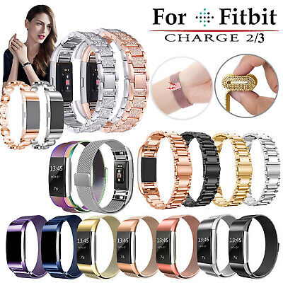 For Fitbit Charge 2 Smart Watch Crystal Stainless Steel Watch Band Wrist Strap E