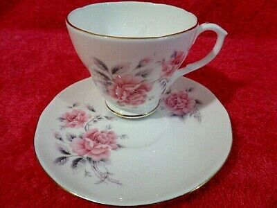 Fine Bone China Tea Cup Saucer Set Vintage Duchess Duo Pink Roses