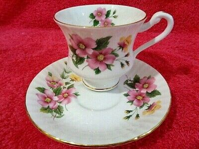 Fine Bone China Tea Cup Saucer Set Vintage Paragon Duo Pink Yellow Floral