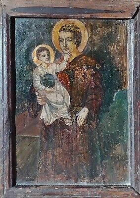 ANTIQUE 17-18c GREEK HAND PAINTED GREEK ICON