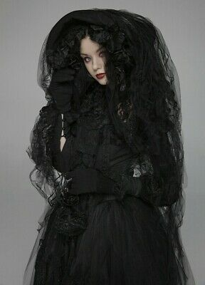 Punk Rave WLS-056 Gothic Lolita Tulle Headdress Dark Lace and Flower Decoration