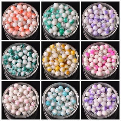 50pcs 10mm Round Spots Coated Opaque Glass Loose Beads Jewelry Findings Crafts