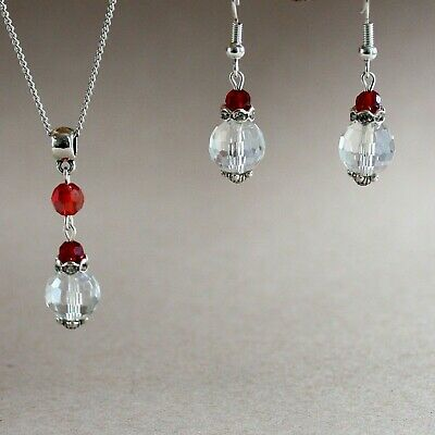 Red clear crystal silver earrings necklace wedding bridal bridesmaid jewelry set