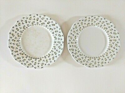 English Staffordshire Sterling Forget-Me-Not scalloped dinner plates Meakin