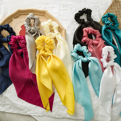 Girls Bow Streamers Solid Color Silky Satin Horsetail Hair Ties Hair Scrunchies