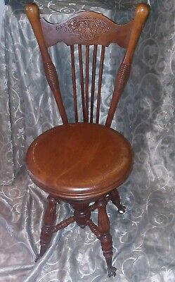 Vintage Antique Piano Stool Chair Glass Ball Claw Swivel Seat Chas Parker co.