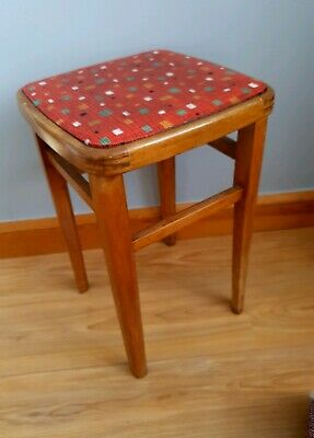 Vintage, retro red leather stool from 60's