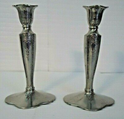 """2 COLONIAL PEWTER by BOARDMAN Candlesticks Candle Holders Pewter 7"""""""