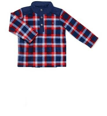 $275 Tommy Hilfiger Baby Boy's Blue Long-Sleeve Top Plaid Flannel Shirt Size 24M