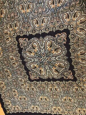 """ART OF THE SCARF from Tie Rack 45/"""" Square Navy /& Multi Paisley Scarf Italy"""