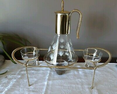 Vintage Corning Brand/Federal Carafe Coffee Pot Hostess Warmer Server Set