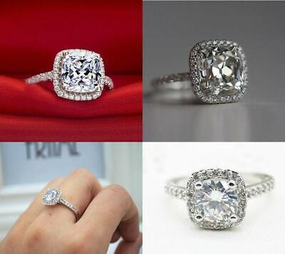 18K White Gold Pave Princess Cut Cubic Zirconia Silver Engagement Simulate Ring
