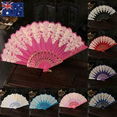 Vintage Wedding Spanish Party Folding Fan Hand Hold Golden Silk Flower