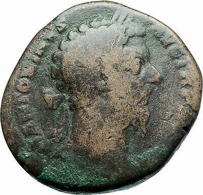MARCUS AURELIUS 172AD Sestertius Big Authentic Ancient Roman Coin JUPITER i79232
