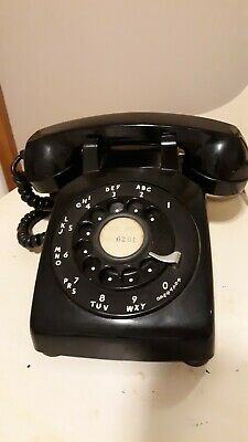 Vintage Black Rotary Phone Bell Systems Western Electric 1950s Model 500