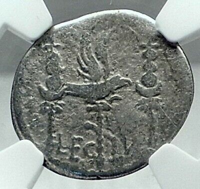 MARK ANTONY Cleopatra Lover 32BC Ancient Silver Roman Coin LEGION IV NGC  i79180
