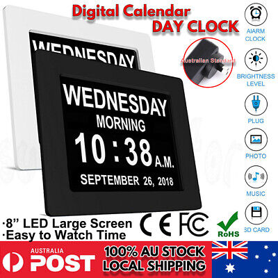 8'' LED Large Digital Day Clock Calendar Dementia Date Week Month Year Time Wall