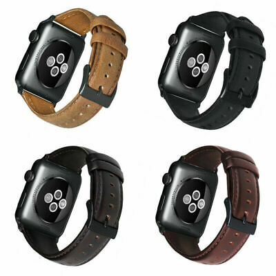Retro Genuine Leather iWatch Band Men Casual Strap For Apple Watch 4 3 2 44/42mm