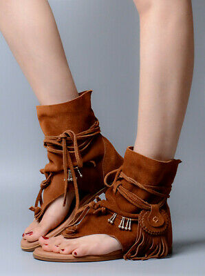 Boho Women Gladiator Sandals Tassel Thong Wedge Suede Roma Slouch Boot US4.5-9.5