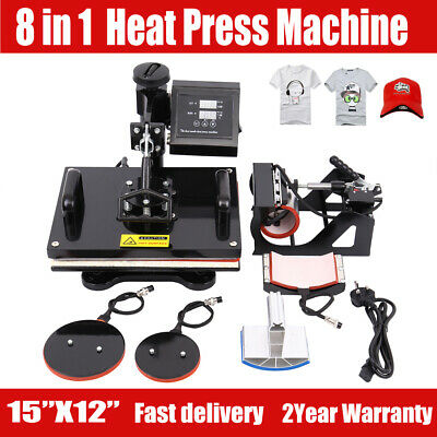 "8 in 1 Heat Press Machine Digital Transfer Sublimation T-Shirt Mug Hat 15""x12"""