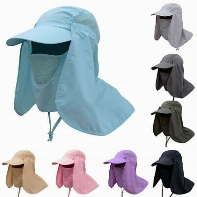 Men Fishing Outdoor Hiking Boonie Summer Beach Sun Protection Neck Face Flap Cap