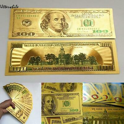 100 Dollars Money Collection Gold Foil Dollar Commemorative Banknote U8HE