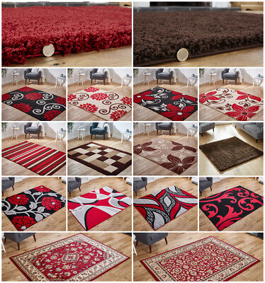 Modern Small Large Runner Circle Round Shaggy Carved Floral Brown Red Black Rug